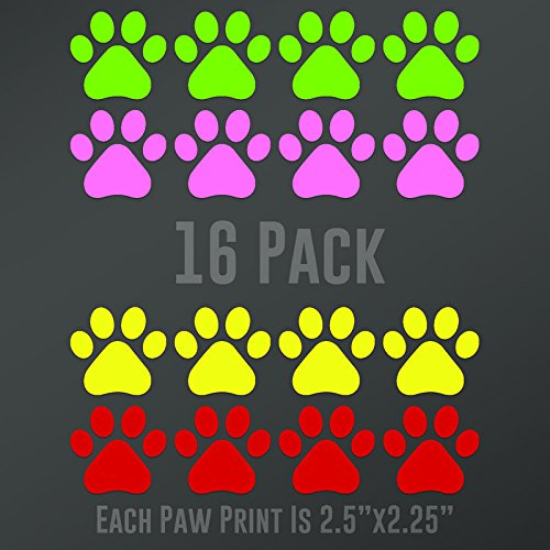 Light Green Animal Backing (CMI356MC Dog Paw Prints 16-Pack (4 Lime Green, 4 Light Pink, 4 Red, 4 Yellow) | Each paw 2.5-Inches By 2.25-Inches | Premium Quality Vinyl)