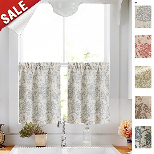 jinchan Floral Scroll Printed Linen Tiers Curtains Pole Top - Ikat Flax Textured Medallion Design Jacobean Floral Curtains Retro Living Room Window Treatments (Grey, 24 Inch Long, 2 Panels)