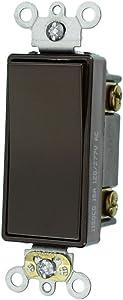 Leviton 5693-2 15-Amp 120/277-Volt Decora Plus Rocker 3-Way AC Quiet Switch, Brown