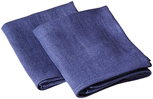 LinenMe Lara French Tea Towels, 17 by 28-Inch, Blue, Set of 2