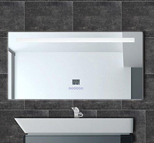 HighMax Badspiegel mit Radio Uhr LED Beleuchtung Datum Temperatur