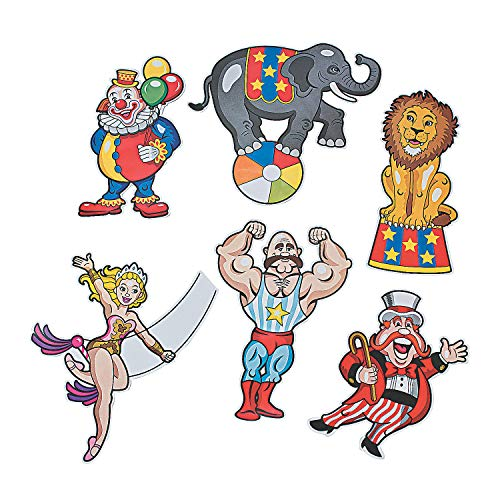 Fun Express - Carnival Cutouts for Party - Party Decor - Wall Decor - Cutouts - Party - 12 Pieces -