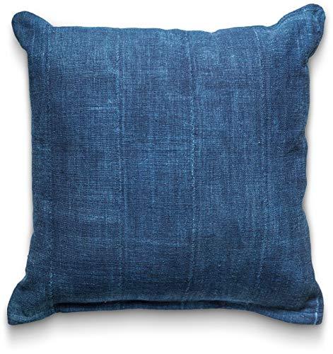 Craft & Kin Pillow Covers Mudcloth Indigo: Throw Pillow Cover 18 x 18 Vintage African Authentic Handmade in Uganda Africa Mud Cloth Double Sided Fabric in Custom Indigo Dye (Indigo) ()