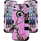 iPhone 5C Case,Lantier Defender Body Armor Realtree Camo Hard Silicon Rubber Military Rugged Protective Case Combo with Camouflage Wood Design Cover for Apple iPhone 5C [Pink Tree Black]