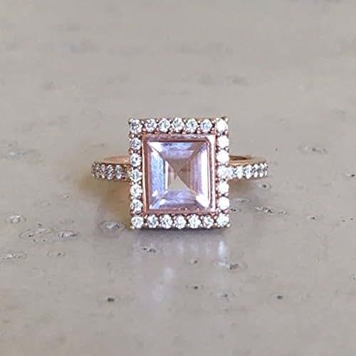 Amazoncom Princess Morganite Engagement Ring Rose Gold Promise
