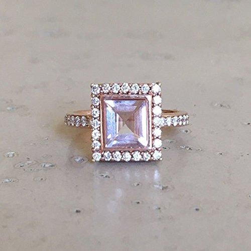 Princess Morganite Engagement Ring- Rose Gold Promise Ring- Alternative Engagement Ring- Halo Square Morganite Ring- Nontraditional Engagement Ring