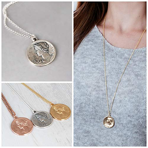 Replica Coin Cameo (Replica Ancient Coin Necklace - Greek Goddess Long Coin Pendant - Sterling Silver, Gold and Rose Gold - Custom Length)