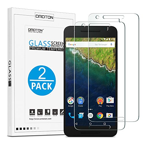 OMOTON Nexus 6P Screen protector [2 Pack] - [9H Hardness] [Crystal Clear] [No-Bubble] Tempered Glass Screen Protector for Huawei Google Nexus 6P [5.7 Inch]