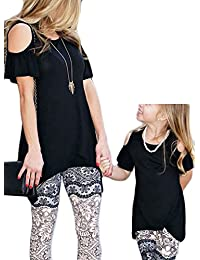 Mommy and Me Matching Cold Shoulder Short Sleeve Top Family Outfits