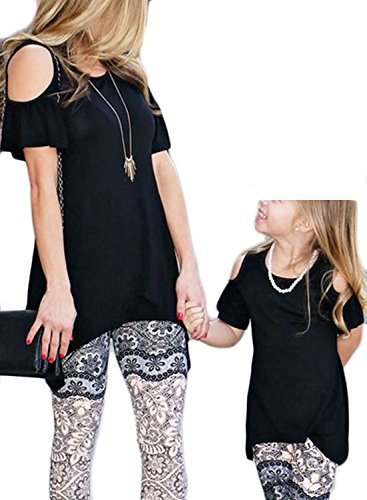 WIFORNT Mommy and Me Matching Cold Off Shoulder T-Shirt Short Sleeve Top Blouse Family Shirts Outfits