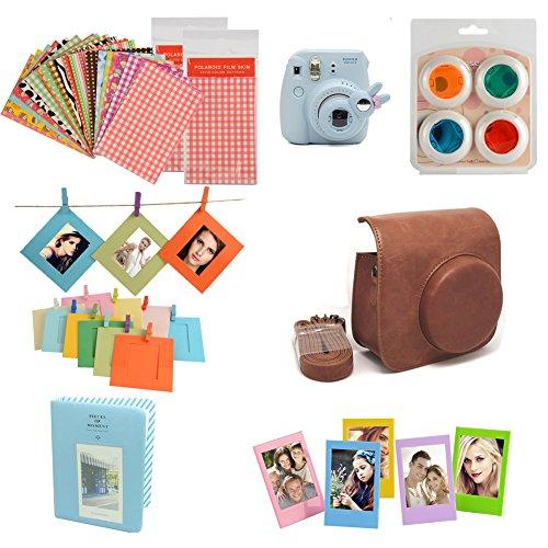 fan-le-camera-kits-camera-case-for-fujifilm-instax-mini-8-instant-camera-accessory-bundles-set-brown