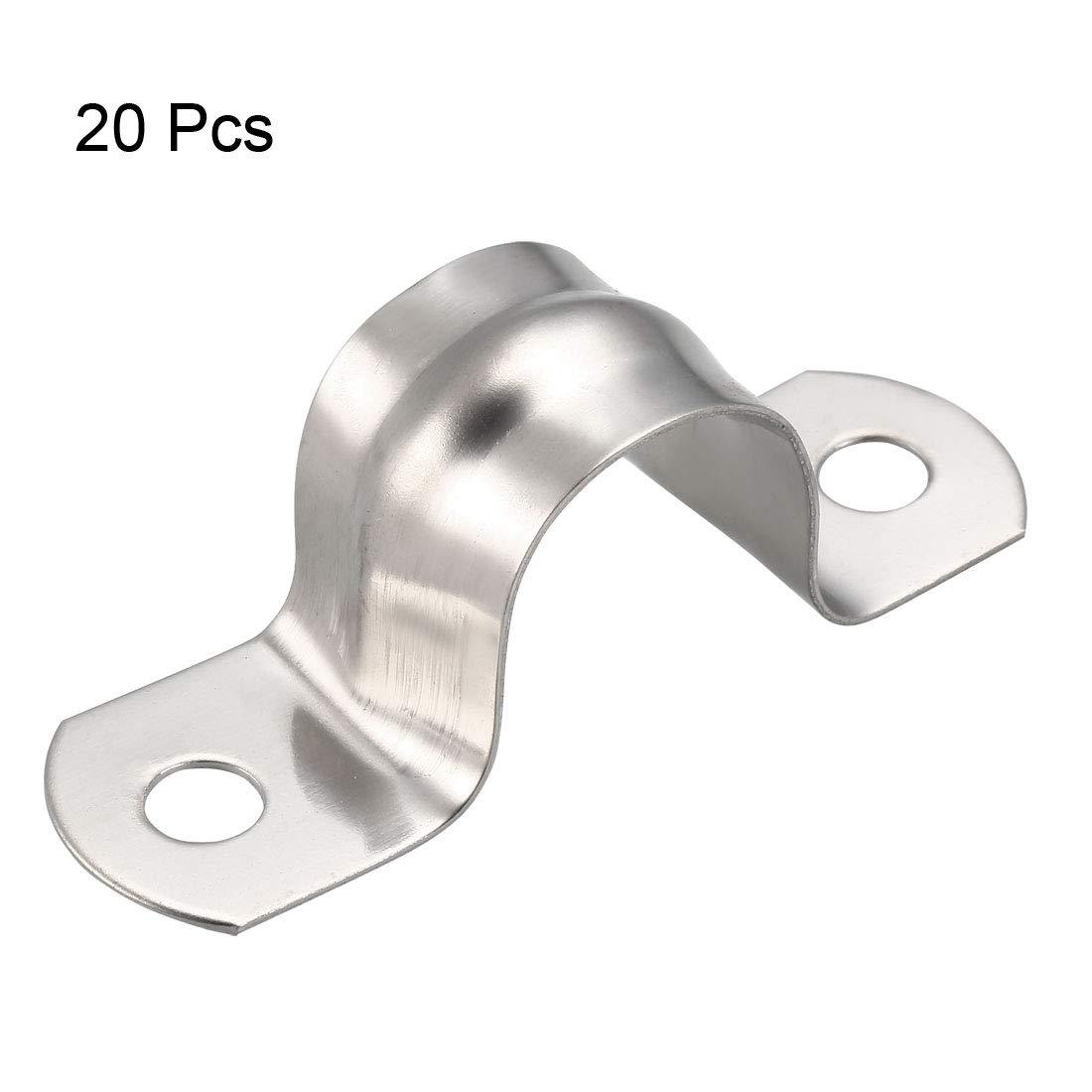 sourcing map Correa r/ígida para tubos de 20 mm abrazaderas de 2 orificios acero inoxidable 304 10 piezas