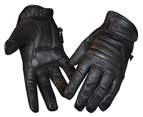 Redline Women's Soft Fleece Lining Motorcycle Leather Gloves, Black GL-56 (L) (Naked Motorcycle Leather Gloves)