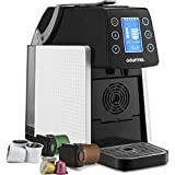 Gourmia GCM5100 One Touch Multi Capsule Coffee & Espresso Machine - Single Serve - Compatible with K-Cup Pods & Nespresso - Adjustable Brew Temperature & Size - Digital Display - 1450W - White