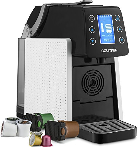 Gourmia GCM5100 One Touch Multi Capsule Coffee & Espresso Machine – Single Serve – Compatible with K-Cup Pods & Nespresso – Adjustable Brew Temperature & Size – Digital Display – 1450W – White