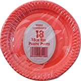 54 x RED PLASTIC PARTY PLATES - 18cm Pack FREE DELIVERY