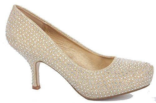 Bridal Smart Heel Style Casual Taglie Bassa Work Wedding Donna Strap Mid Gold 7 Scarpe Court Kitten q1zx4g