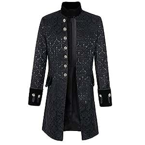 Retro Mens Gothic Brocade Jacket Frock Coat Steampunk VTG Victorian Coat Outwear Black L