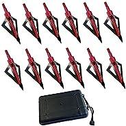 FOUUA Hunting Broadheads, 12Pack 3 Blades Crossbow Broadheads, 100 Grain Archery Broadheads for Crossbow and C