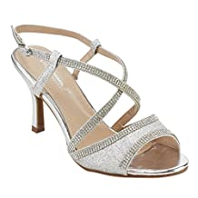 VIA PINKY EG79 Women's Rhinestone Criss Cross Strappy Kitten Heel Dress Sandals