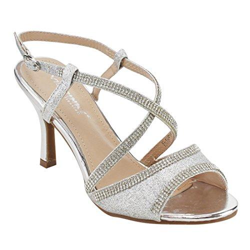 Via Pinky EG79 Women's Rhinestone Criss Cross Kitten Heel Sandals One Size Small, Color:Silver, Size:7 (Criss Cross Rhinestone)