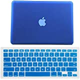 """HDE Frosted Matte Rubber Coated Hard Shell Clip Snap-On Case Cover for Macbook Pro 13"""" (A1278) + Matching Keyboard Skin (Deep Blue)"""