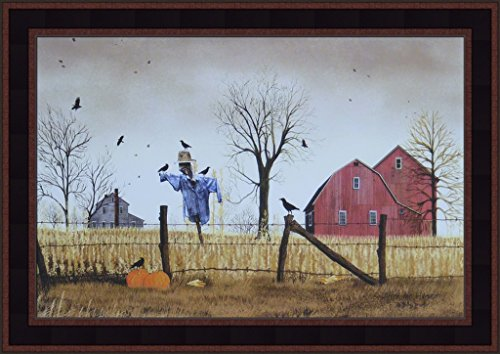 Home Cabin Décor After The Harvest by Billy Jacobs 15x21 Scarecrow Corn Field Barn Farm Pumpkins Crows Autumn Fall Primitive Folk Art Framed - Field Framed Jacobs