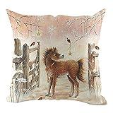 Gooldu Christmas Pillow Cover 18x18 Cushion Cases Decorative Sofa Home Pillow Animal Fox Deer Bird Cat Pillowcase (07)