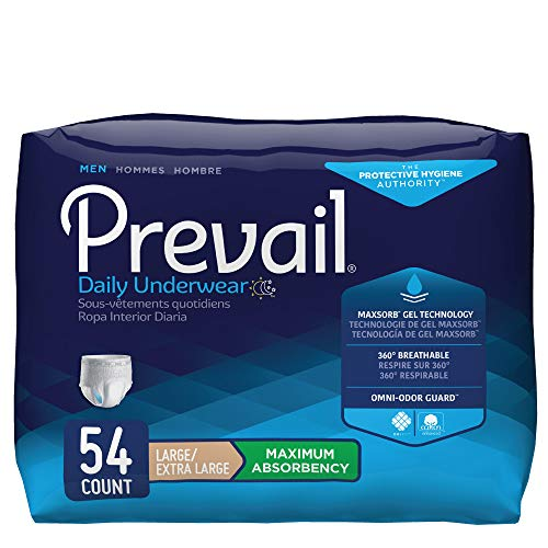 Prevail Maximum Absorbency Incontinence Underwear for Men, Large/Extra Large, 54 Count ()