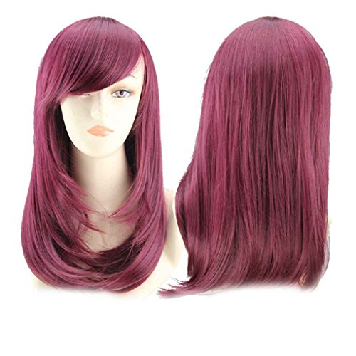Xuanhemen Women Colorful Medium Lenght Pear Head Pop Style Wigs for Halloween Cosplay ()