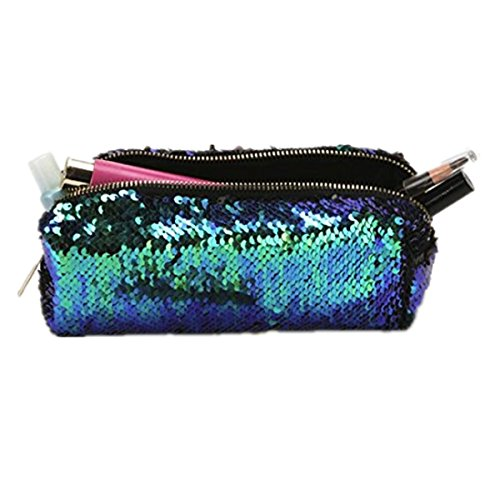 Mysky Women Bags, Double Color Sequins Glitter Handbag Cosmetic Bag Makeup Bag (Green) from My*sky Bags
