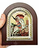 Saint George Christian Icon Sterling Silver Handmade Jerusalem Holy Land 5.2''