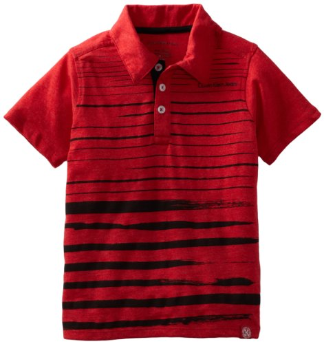 Calvin Klein Little Boys' Short Sleeve Slub Polo, Red, 6