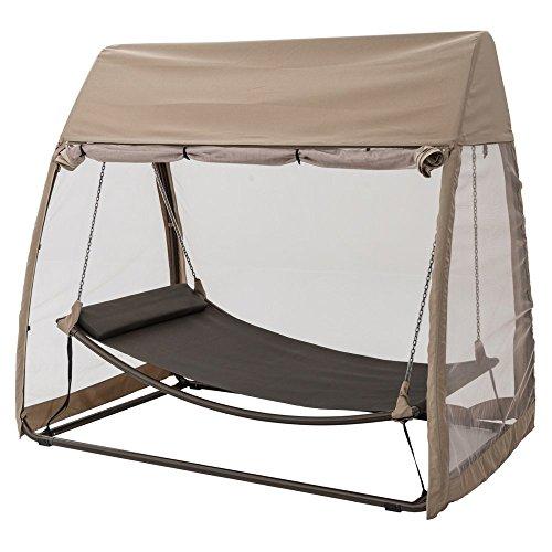 Poolside Hammock - TrueShade Plus Patio Backyard Swinging Hammock With Screen Enclosure - One Person Hammock (7.6' x 4.6' x 6.7') Heather Beige by TrueShade Plus