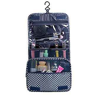 TERSELY Portable Hanging Toiletry Bag - Organizer Folding Pouch Toiletry Cosmetic Bag with Hanging Hook And Strong Zippers,Folded with Multiple Bags, Waterproof, Durable For Vacation(Dark Blue)