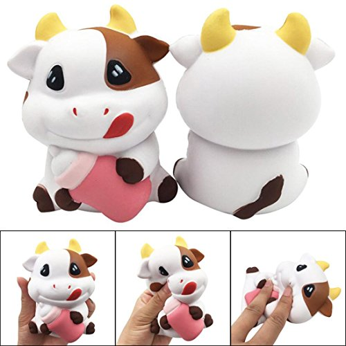 Enamel Cow Charm - Slow Rising Toy,Kasien Adorable Cartoon Cow Charm Slow Rising Squeeze Pressure Stress Reliever Toys