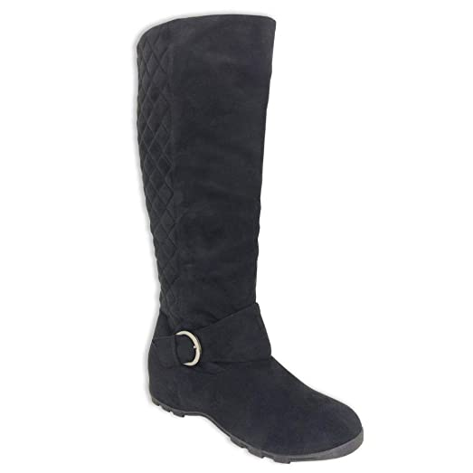 Amazon.com | Twisted Women's KOI Quilted Back Faux Suede Tall ... : quilted back boots - Adamdwight.com