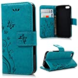 Cyber Monday Deals Week-Valentoria Premium Vintage Emboss Butterfly Leather Wallet Pouch Case with Wrist Strap for iPhone 7 (iPhone 7, Teal Blue)