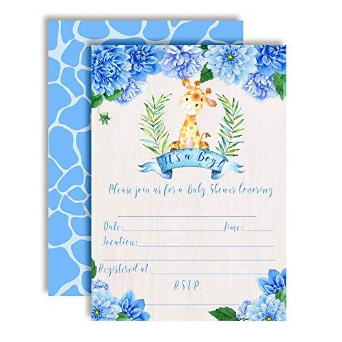 Flower Shower Blue Giraffe (Watercolor Dahlia Floral Giraffe-Themed Baby Boy Sprinkle Shower Invitations, 20 5