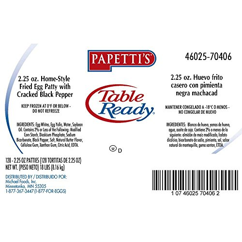 Papettis Table Ready Home Style Fried Egg Patty with Cracked Black Pepper, 2.25 Ounce -- 128 per case. by Michael Foods
