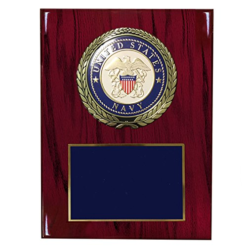 Customizable 9 x 12 Inch Cherry Piano Finish Plaque with U.S. Navy Medallion, Includes - Finish Medallion Cherry