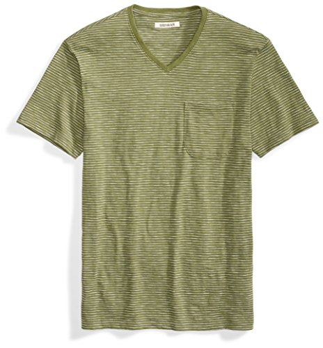 Goodthreads Men's Lightweight Slub V-Neck Pocket T-Shirt, Bronze Green/Olive/White Stripe, -