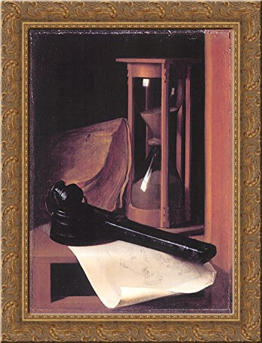 Still Life with Hourglass, Pencase and Print 24x18 Gold Ornate Wood Framed Canvas Art by Gerrit Dou (Ornate Hourglass)