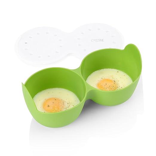 Cozzine Huevo Microondas, Huevos Cazadores Furtivos, Escalfadores de Huevos, Contenedor de Huevos & Manipuladores de Huevo de Silicona para Cocinar ...