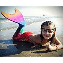 Mermaid Tails Swimsuit with Monofin Swimmable Mermaid Swimming Swimwear by Mounchain for Girls Kid Rainbow