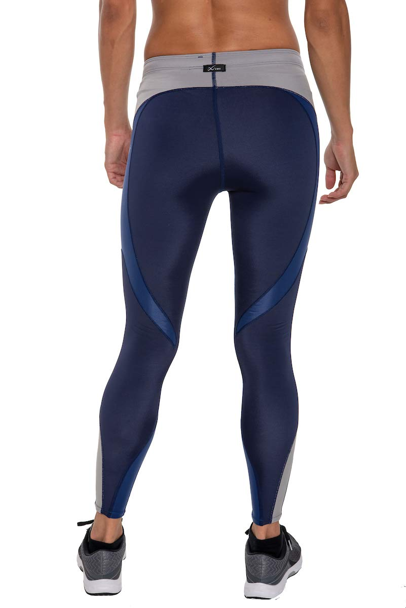CW-X Women's Mid Rise Full Length Stabilyx Compression Legging Tights, Navy/Grey/Blue Limited Edition, X-Small by CW-X (Image #2)