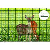 V Protek Ultimate Tomato Cage Heavy Duty 4ft-Hx10ft-L Mesh 2.4 inch Openings PVC Coated Fence Wire Poultry Netting Gutter Guards Chicken Run Rabbit Fencing to Keep Out Racoons Gophor Hunter Green