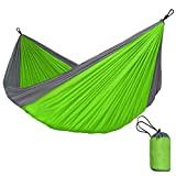 Zxcvlina Single & Double Hammocks Gear for The Outdoors Backpacking Survival Or Travel - Portable Lightweight Parachute Nylon Many Colors with Space-Saving Steel Stand (Color : Green)