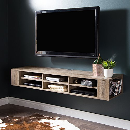 South Shore 9062677 City Life Wall Mounted Media Console, 66', Weathered Oak