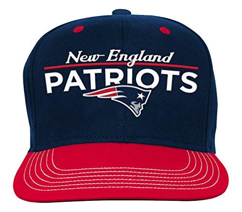 NFL Youth Boys Retro Bar Script Flatbrim Snapback Hat-Dark Navy-1 Size, New England - Kid Retro The